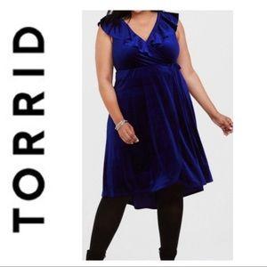 Torrid Navy Velvet Ruffle Wrap Dress